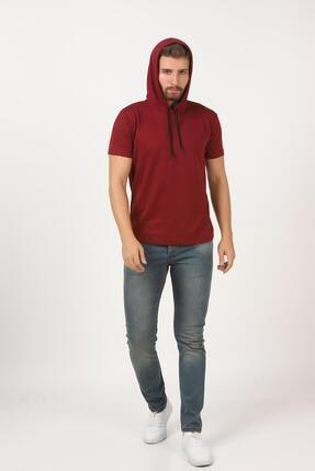 Tena Moda Erkek Bordo Kısa Kollu Kapşonlu Basic Tişört 4
