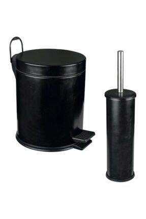 Berta Hijyen Berta 2'li Siyah Banyo Seti Çöp Kovası Tuvalet Fırçası 0