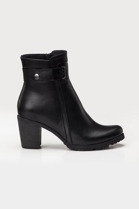 Deripabuc Hakiki Deri Siyah Kadın Topuklu Deri Bot Trc-3763 1
