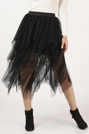 Tena Moda Kadın Siyah Parçalı Tül Etek 1