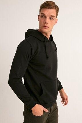 Fullamoda Erkek Siyah Kapüşonlu Sweatshirt 1