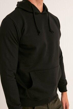 Fullamoda Erkek Siyah Kapüşonlu Sweatshirt 4