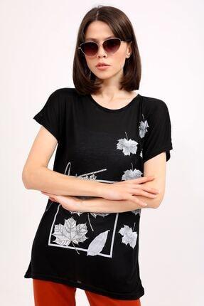 metropol tekstil Krt-044 Desenli Tshirt Siyah 0