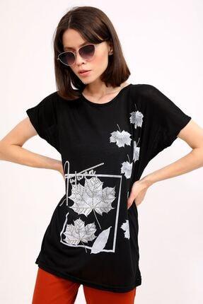 metropol tekstil Krt-044 Desenli Tshirt Siyah 1