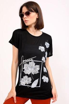 metropol tekstil Krt-044 Desenli Tshirt Siyah 2
