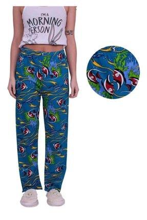 تصویر از Balık Desenli Kadın Pijama Altı   Saks