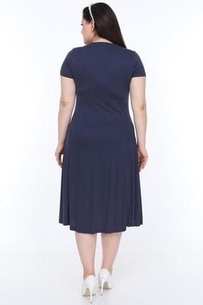 SENTEX Kısa Kollu Puantiyeli Kuplu Belden Oturmalı Bayan Elbisesi 3