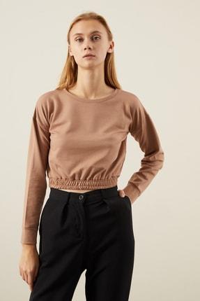 Tena Moda Kadın Bisküvi Beli Lastikli Crop Sweatshirt 2