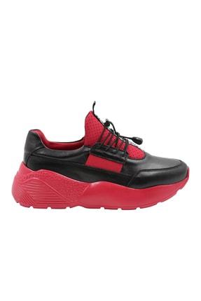 Abbondare Hakiki Deri Siyah-kırmızı Kadın Spor Ayakkabı-sneaker 1