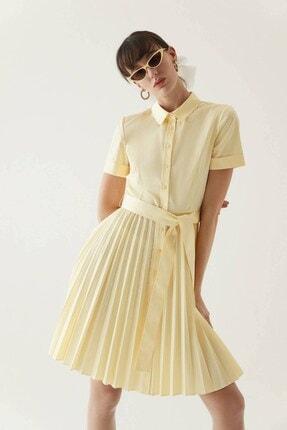 Rue Sarı Kuşaklı Midi Gömlek Elbise 0