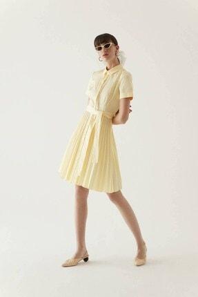 Rue Sarı Kuşaklı Midi Gömlek Elbise 1
