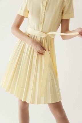 Rue Sarı Kuşaklı Midi Gömlek Elbise 3