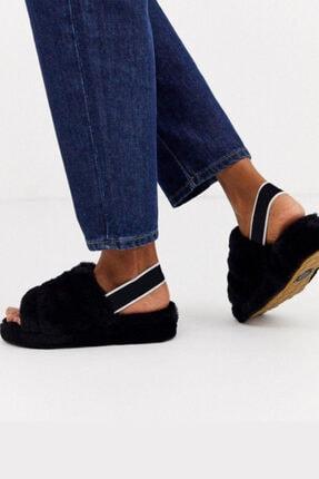 BAHELS Kadın Siyah Kürklü Lastik Detaylı Eva Taban Terlik / Sandalet 1