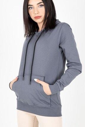 MY LIFE Mylife Kapüşonlu Kanguru Cep Kadın Sweatshirt Füme - Mlf2735 2