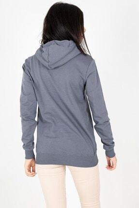 MY LIFE Mylife Kapüşonlu Kanguru Cep Kadın Sweatshirt Füme - Mlf2735 3