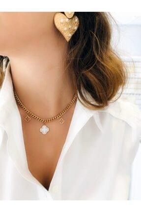 Mugee Accessories Gold Beyaz Yonca Choker Kolye 0