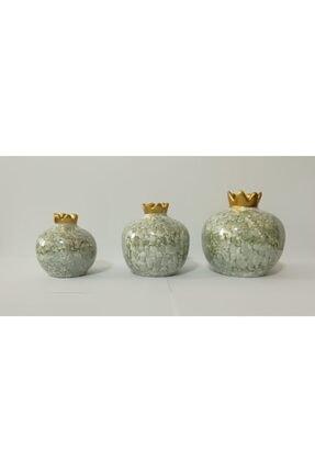 YEDİTEPE ÇİNİ Seramik Metalik Yaldızlı Ebruli 3 Lü Nar Seti-yeşil-el Işi-dekoratif-hediyelik 0