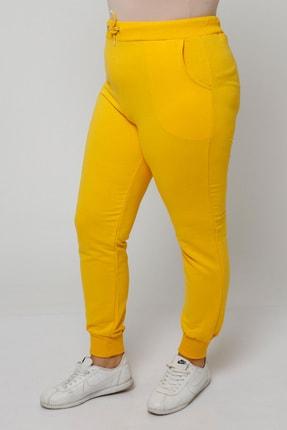 Ebsumu Kadın Büyük Beden Bilek Lastikli Sarı Eşofman Altı 2