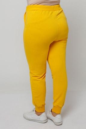 Ebsumu Kadın Büyük Beden Bilek Lastikli Sarı Eşofman Altı 3