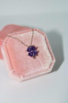 AME SOEUR 925 Ayar Gümüş Purple Four Leaf Clover Kolye 0