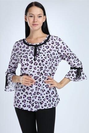 Selent Kadın Lila Leopar Desenli Kolları Volanlı Büyük Beden Bluz 0