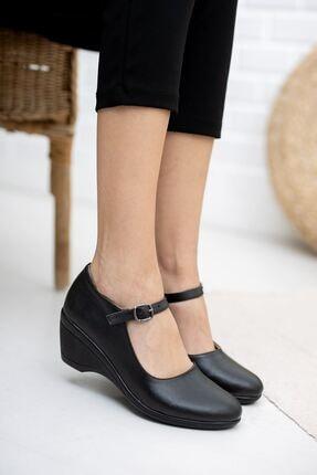epaavm Dolgu Taban Siyah Cilt Ayakkabı 2