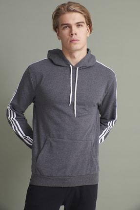 Tena Moda Erkek Antrasit Kapşonlu Kanguru Cepli Kolları Üç Şeritli Sweatshirt 2