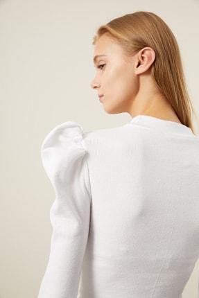 Tena Moda Kadın Beyaz Karpuz Kol Balıkçı Yaka Bluz 1