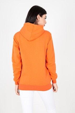 MY LIFE Mylife Kapüşonlu Kanguru Cep Kadın Sweatshirt Turuncu - Mlf2735 3