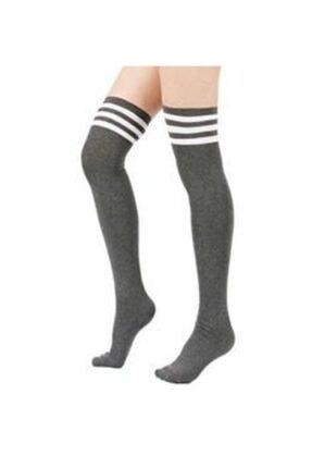 Çoraphane Diz Üstü Çizgili Çorap 3 Çift 2
