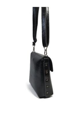 Güce Kadın Siyah Kroko Desenli Gc010300k Tokalı El Ve Omuz Çantası 3