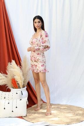 Tuba Butik Çiçek Desen Şifon Elbise 0