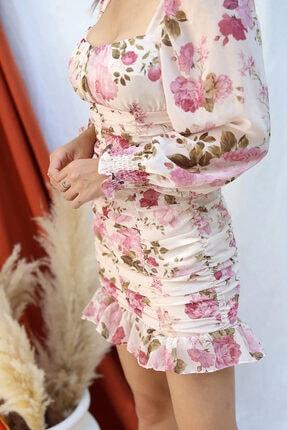 Tuba Butik Çiçek Desen Şifon Elbise 3