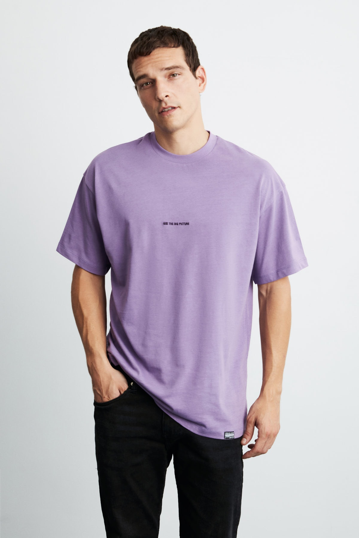 GRIMELANGE RIVER Erkek Mor Önü Yazı Nakışlı Kısa Kollu Oversize T-Shirt