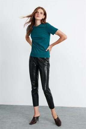 GRIMELANGE Hannah Kadın Petrol Yuvarlak Yakalı Basic T-shirt 0