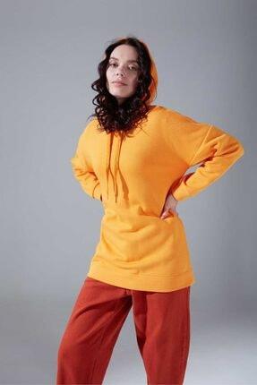 Mizalle Youth Kuş Gözü Bağcıklı Sweatshirt (Safran) 1