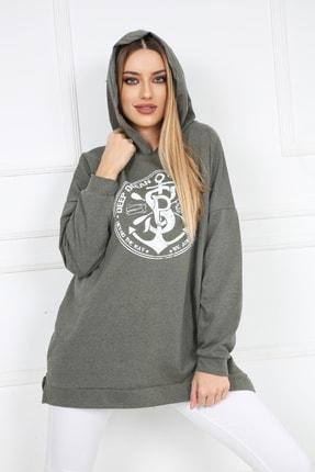 Butik Vanilin Kadın Haki Amblem Baskılı Kapüşonlu Yırtmaçlı Sweatshirt 2