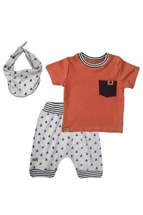 Flexi Cep Detaylı Fularlı 3'lü Erkek Bebek Takım 0