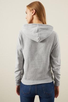 Tena Moda Kadın Gri Kapşonlu Kanguru Cepli Bacis Sweatshirt 4