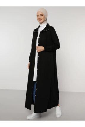 Picture of Kadın Siyah Cep Detaylı Çıtçıtlı Pardesü 1747493