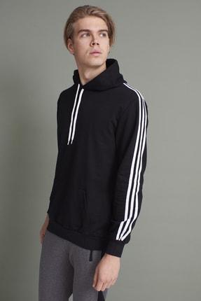 Tena Moda Erkek Siyah Kapşonlu Kanguru Cepli Kolları Üç Şeritli Sweatshirt 2