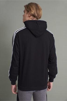 Tena Moda Erkek Siyah Kapşonlu Kanguru Cepli Kolları Üç Şeritli Sweatshirt 4