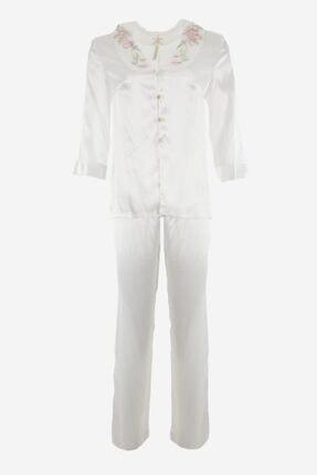 Karmen Nakış Detaylı Saten Pijama Takımı 0
