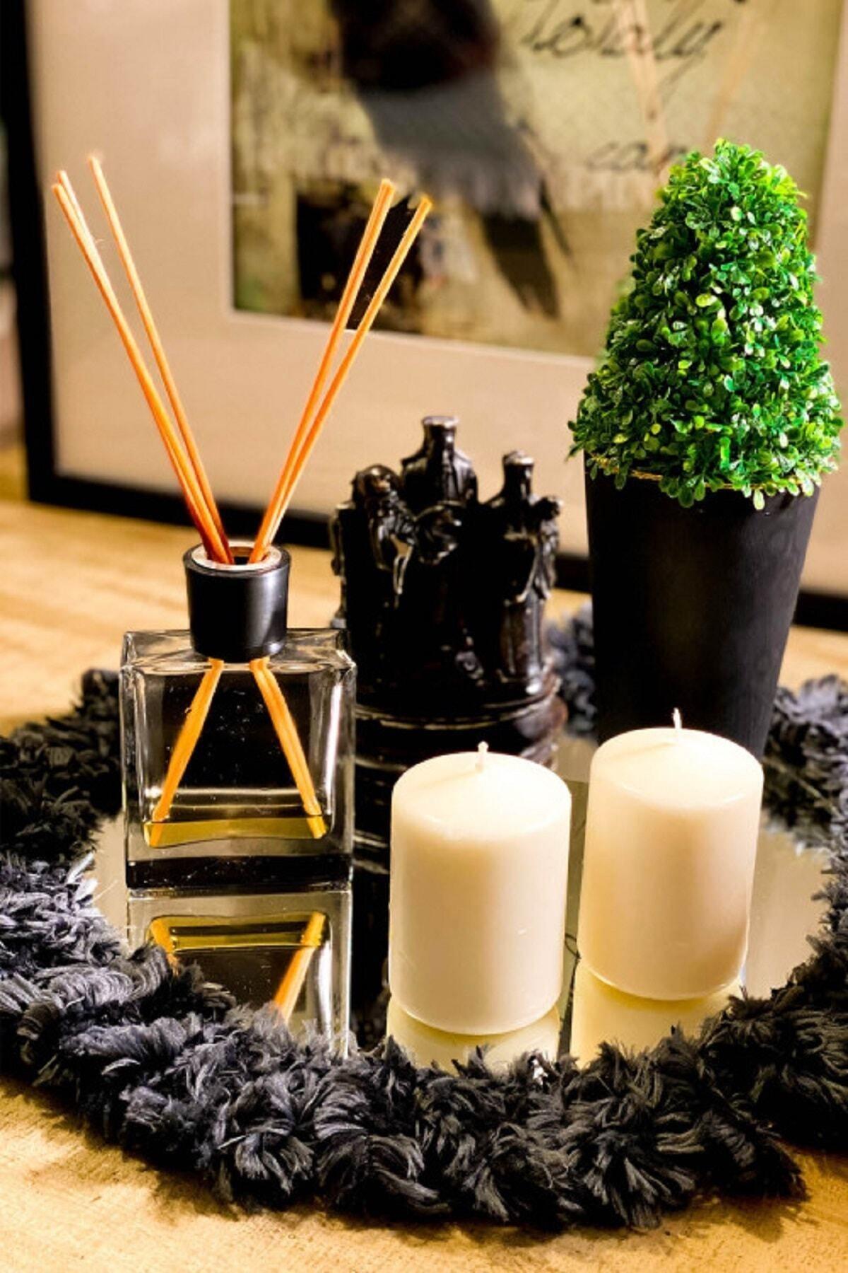 Ponpon Püsküllü Dekoratif Siyah Ayna Tepsi