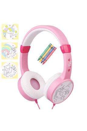 Snopy Pembe Çift Kablo Girişli Çocuk Kulaklığı ( Paket Içersinden 4 Adet Pastel Kalem Boya Çıkıyor ) 0