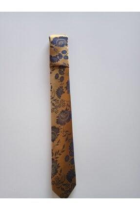 bentıes Benties Hardal Çiçek Desen Mendilli Kravat Set Ince 6 Cm K34 0