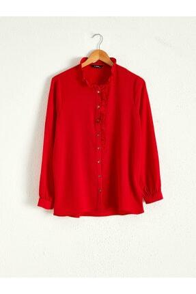 LC Waikiki Kadın Kırmızı  Gömlek 0