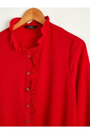 LC Waikiki Kadın Kırmızı  Gömlek 1