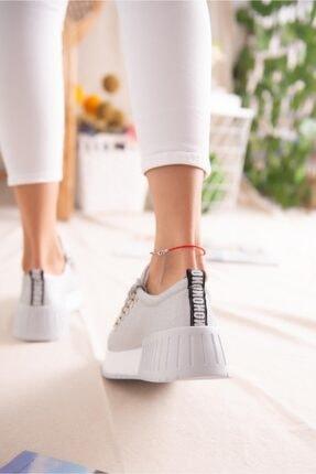 Limoya Kadın Gümüş Simli Bağcıklı Yüksek Tabanlı Casual Sneakers 2