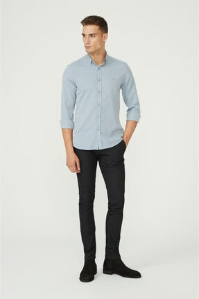 Avva Erkek Koyu Mavi Oxford Düğmeli Yaka Regular Fit Gömlek E002000 3